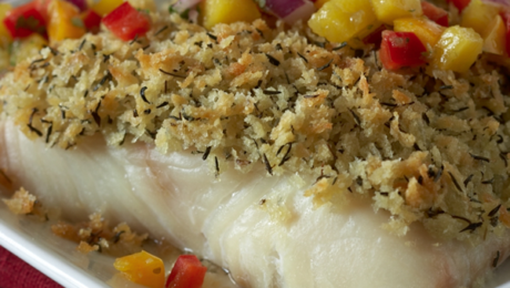Panko Parmesan Crusted Halibut