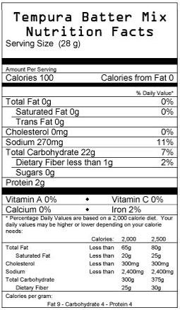 Tempura Batter Mix Nutrition