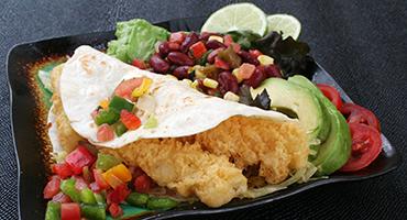 Tempura style fish tacos