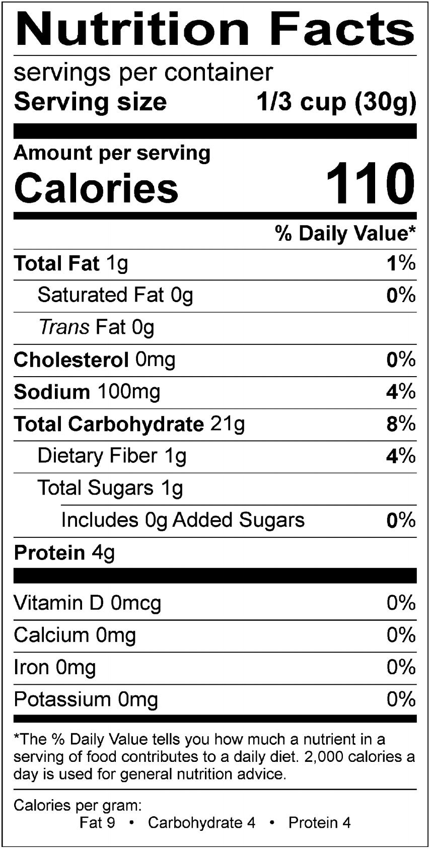 Fine Grind Panko Nutrition
